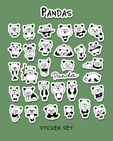 Funny pandas collection, sticker set for your design Illustration