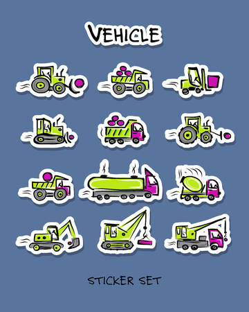 Construction equipment like tractors and trucks, sticker set for your design