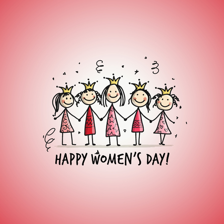Happy womens day Card with pretty girls for your design Illustration