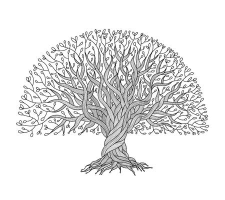 あなたのデザインのための根を持つ大きな木  イラスト・ベクター素材