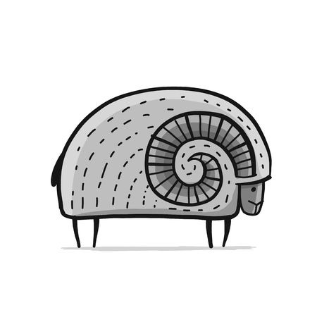 Cute ram, simple sketch vector illustration Illustration
