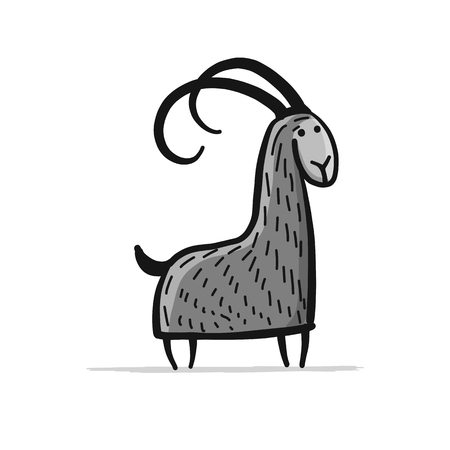 Funny goat, simple sketch for your design
