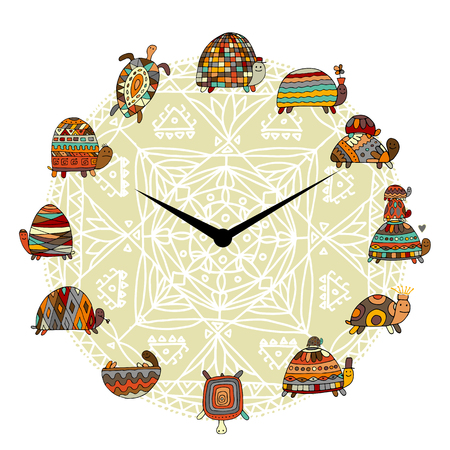 Funny turtles set in a clock, sketch Vector illustration.