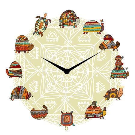 Funny turtles set in a clock, sketch Vector illustration.