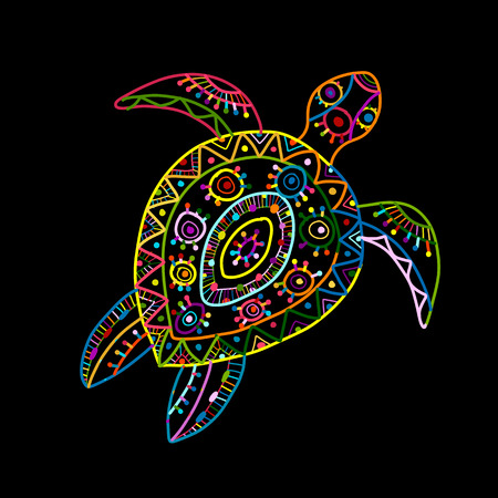 Tortoise ornate design Vector illustration. Stock Illustratie