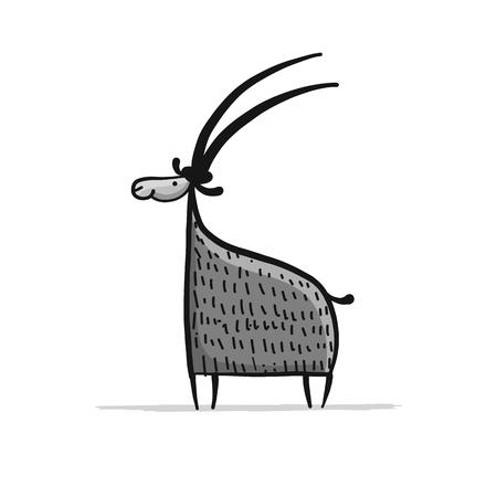 面白いヤギ、シンプルなスケッチベクターイラスト。