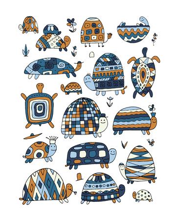 Collection de tortues drôles, croquis Illustration vectorielle.