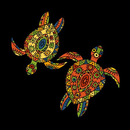 Tortoise ornate design on black background, Vector illustration.