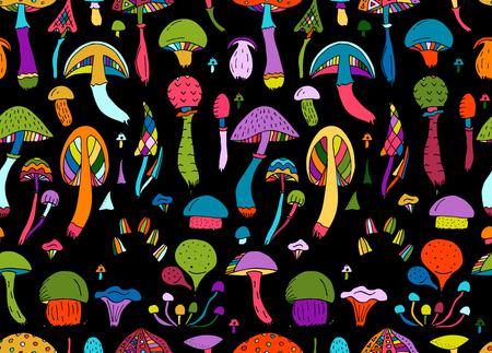 Mushrooms, seamless pattern for your design. Vector illustration