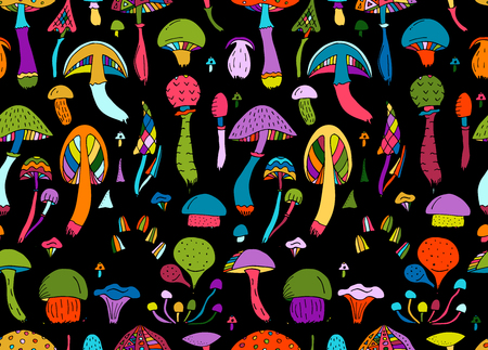Mushrooms, seamless pattern for your design. Vector illustration