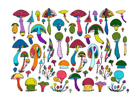 Fantastic mushrooms set