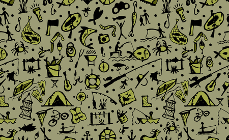 Fishing seamless pattern, sketch for your design. Vector illustration