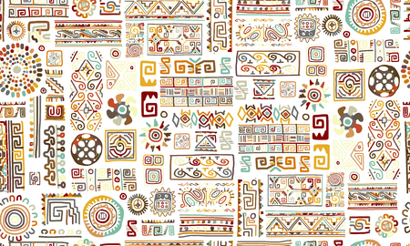 Ethnic handmade ornament, seamless pattern Vector illustration.
