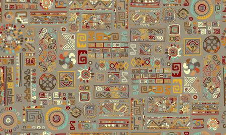 Ethnic handmade ornament, seamless pattern Vector illustration.