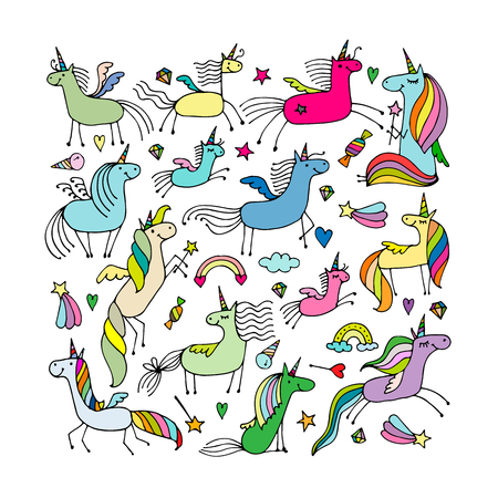 Magic unicorns collection, sketch for your design. Vector illustration Vectores