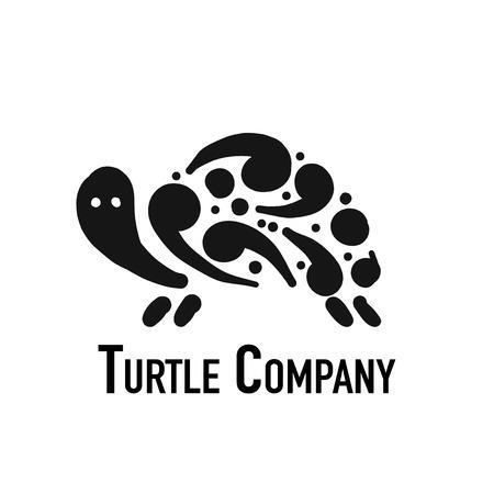 Turtle logo, black silhouette for your design Illustration