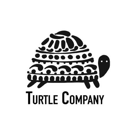 Turtle logo, black silhouette for your design Ilustrace