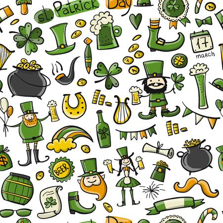 Saint Patricks Day set icons like leprechaun, horse shoe,  leprechauns shoe and cauldron of gold
