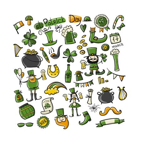Saint Patrick's Day set icons like leprechaun, horse shoe,  leprechaun's shoe and cauldron of gold Stock Vector - 97450627