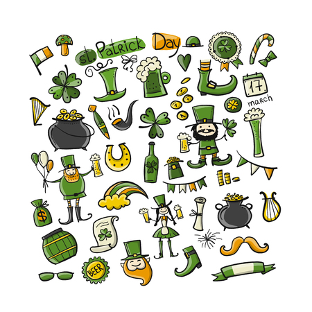 Saint Patricks Day set icons like leprechaun, horse shoe,  leprechauns shoe and cauldron of gold