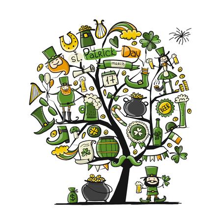 Saint Patricks Day set icons in tree like leprechaun, horse shoe,  leprechauns shoe and cauldron of gold