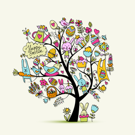 Easter holiday tree, sketch for your design