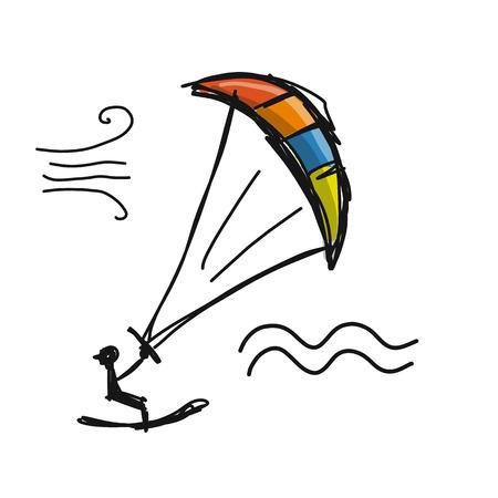 Kiteboarding, sketch for your design Stock Vector - 97684535