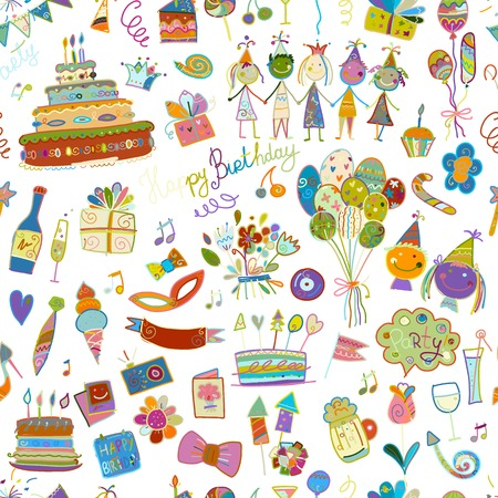 Birthday party, seamless pattern for your design. Illustration