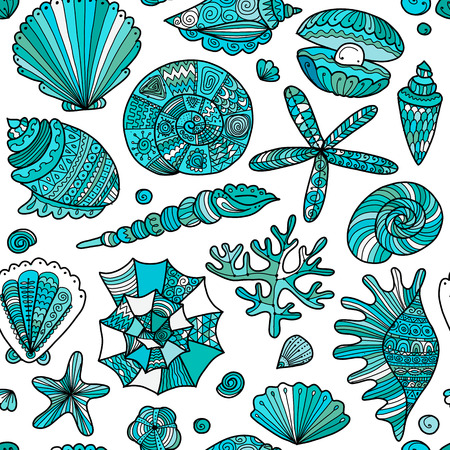 Marine seamless pattern, ornate seashells for your design. Ilustrace