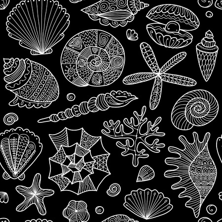 Marine seamless pattern, ornate seashells for your design. Ilustrace