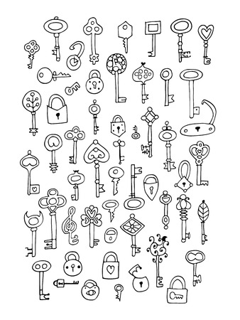 Keys collection, sketch for your design. Çizim