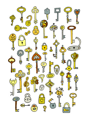 Keys collection, sketch for your design. Illustration