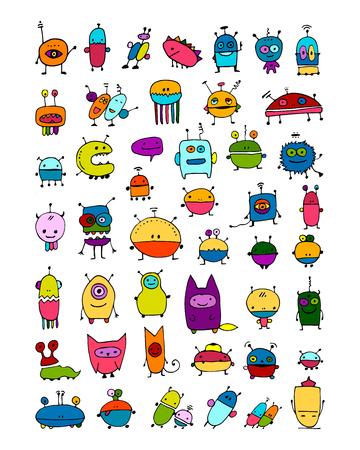 재미 외계인 컬렉션, 디자인을위한 스케치. 스톡 콘텐츠 - 98516187