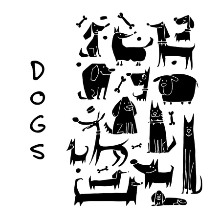 Funny dogs collection, sketch for your design.