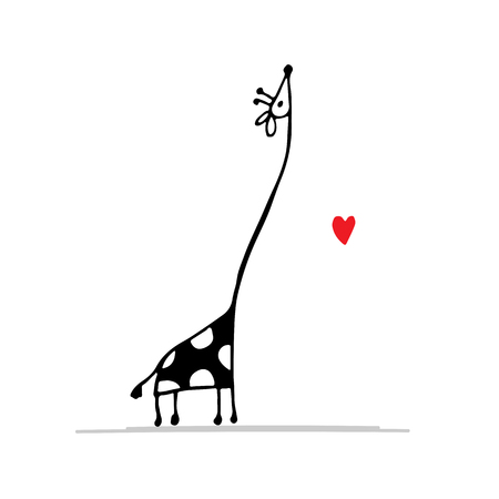 Giraffe in love, funny sketch for your design.