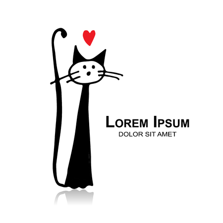 Funny cat, sketch for your design. Иллюстрация