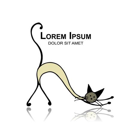 Siamese cat, sketch for your design. Illustration