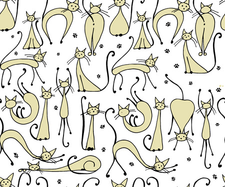 Cats seamless pattern for your design. Ilustração