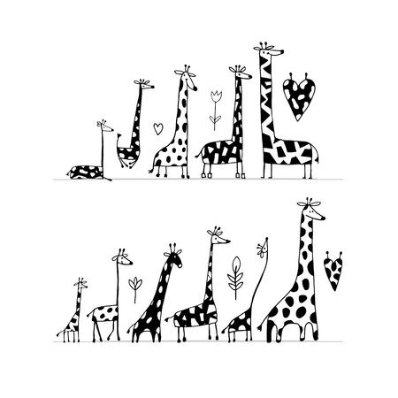 Giraffes family, sketch for your design. Ilustracja