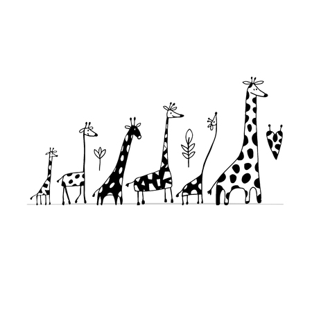 Giraffes family, sketch for your design. Иллюстрация