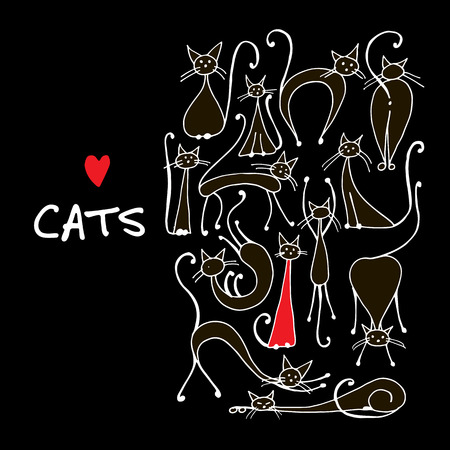 Cats collection, sketch for your design.