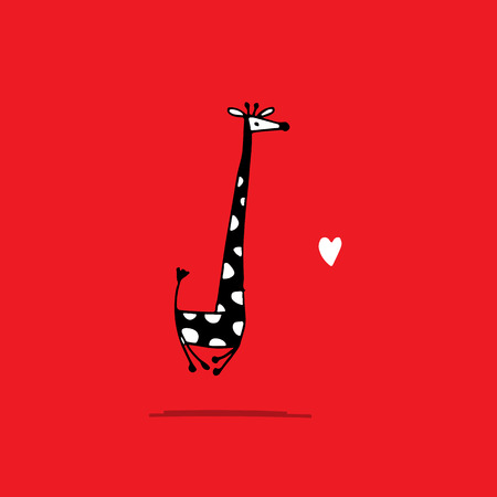 Giraffe in love, funny sketch for your design.