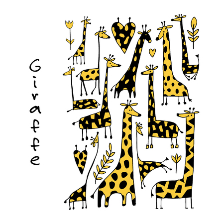 Giraffes collection, sketch for your design. 向量圖像