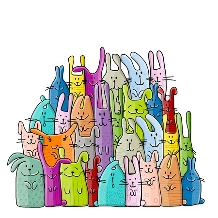 Big rabbits family for your design. Illustration