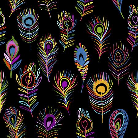 Pawie pióra wzór na ciemnym tle. Ilustracje wektorowe