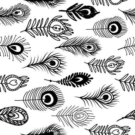 孔雀の羽、プレーンな背景に隔離されたあなたのデザインのためのシームレスなパターン。  イラスト・ベクター素材
