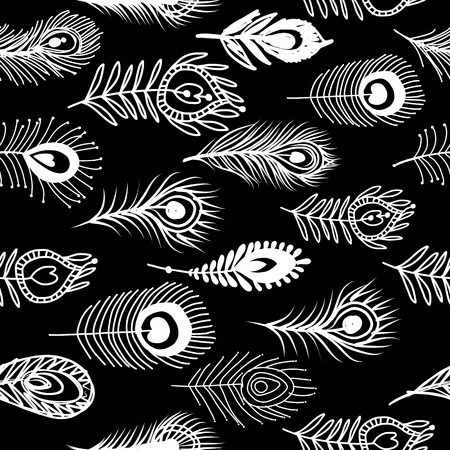 Peacock feathers, seamless pattern for your design isolated on plain background. Illustration