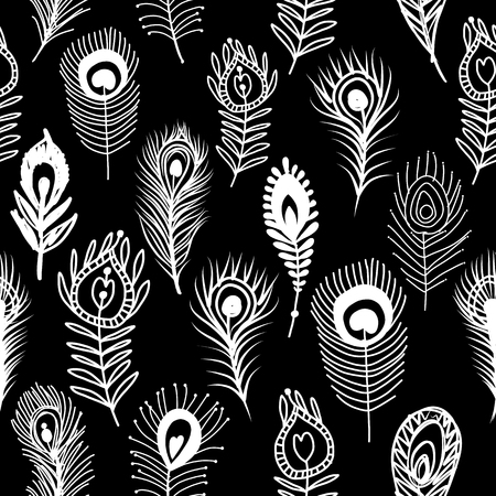 Peacock feathers  seamless pattern on black background.