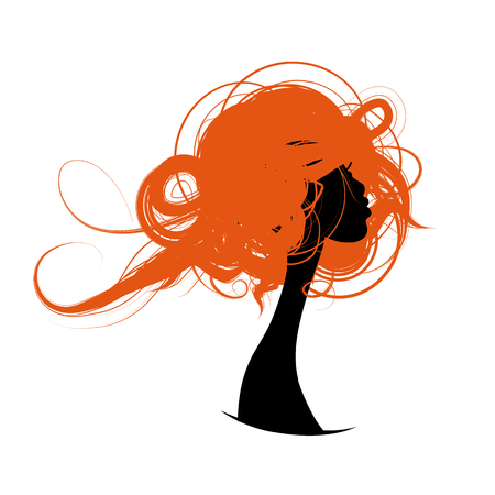 Female portrait silhouette with hair illustration Archivio Fotografico - 98467935