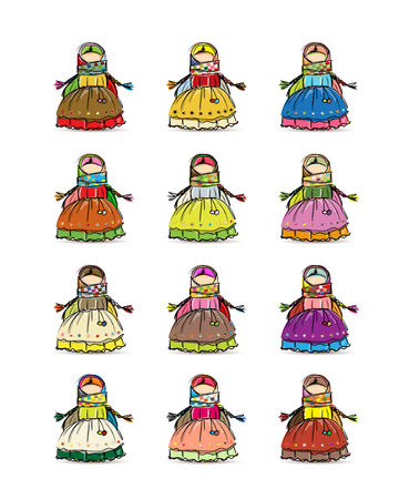 Handmade folk doll mascot, collection for your design